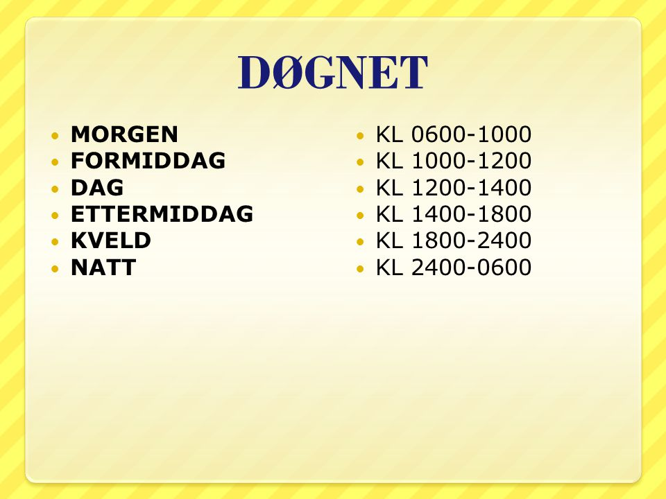 DØGNET MORGEN FORMIDDAG DAG ETTERMIDDAG KVELD NATT KL 0600-1000 KL 1000-1200 KL 1200-1400 KL 1400-1800 KL 1800-2400 KL 2400-0600