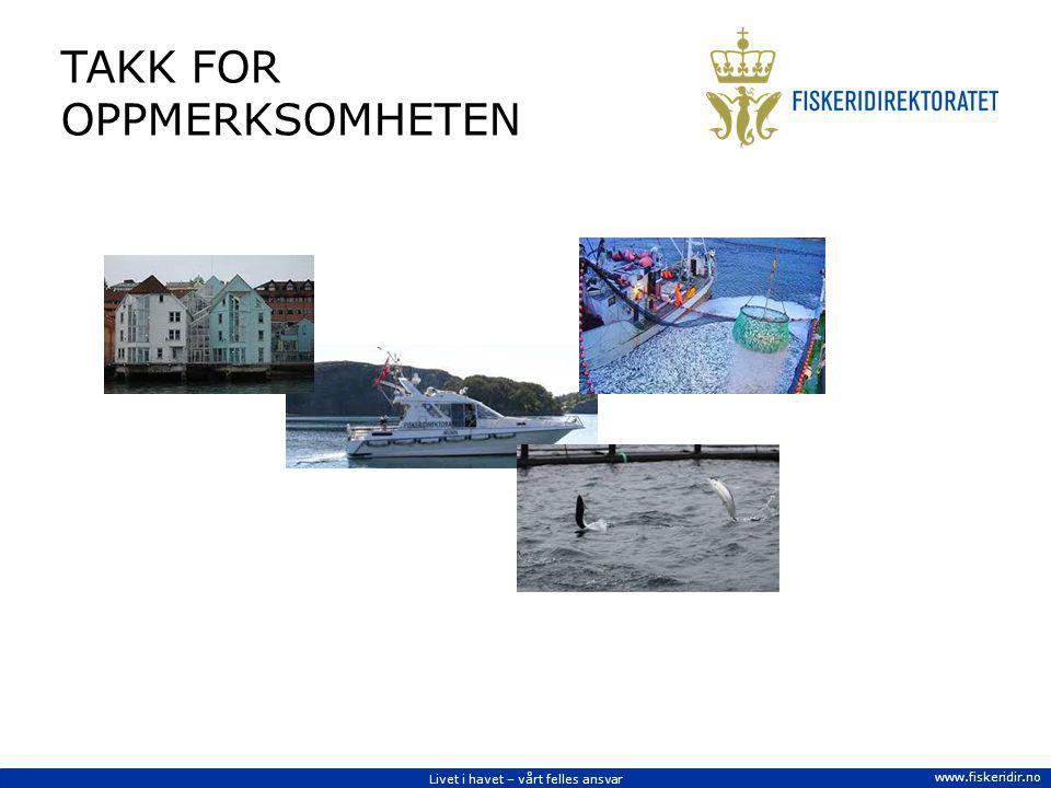 Livet i havet – vårt felles ansvar www.fiskeridir.no TAKK FOR OPPMERKSOMHETEN