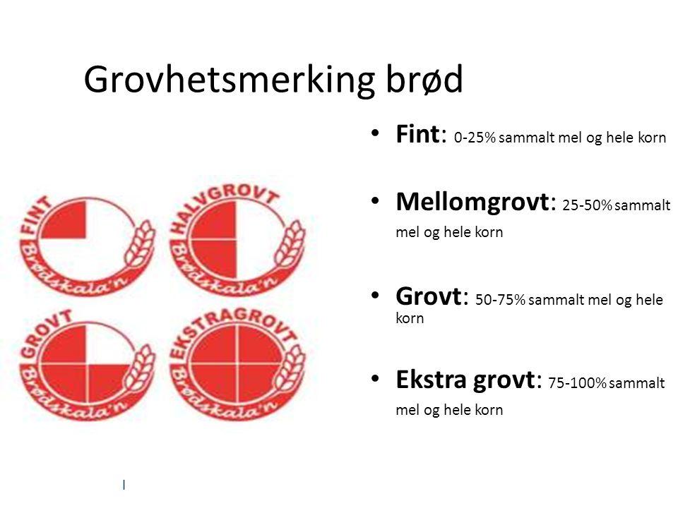| Grovhetsmerking brød Fint: 0-25% sammalt mel og hele korn Mellomgrovt: 25-50% sammalt mel og hele korn Grovt: 50-75% sammalt mel og hele korn Ekstra