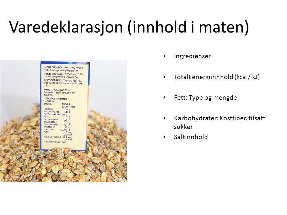 Varedeklarasjon (innhold i maten) Ingredienser Totalt energiinnhold (kcal/ kJ) Fett: Type og mengde Karbohydrater: Kostfiber, tilsatt sukker Saltinnho
