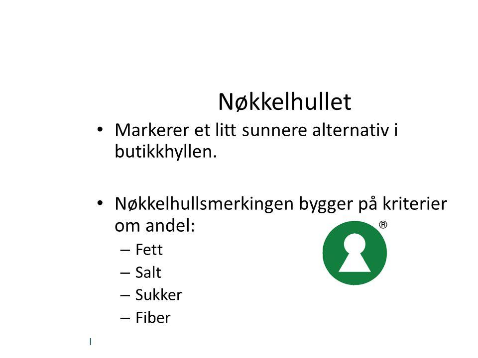 | Nøkkelhullet Markerer et litt sunnere alternativ i butikkhyllen. Nøkkelhullsmerkingen bygger på kriterier om andel: – Fett – Salt – Sukker – Fiber