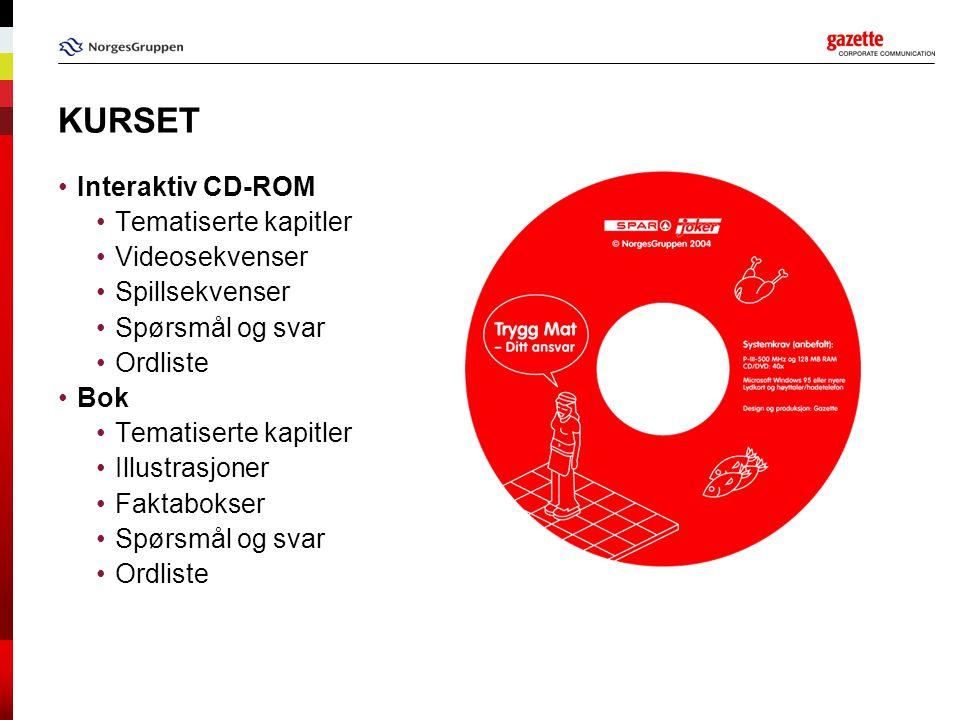 KURSET Interaktiv CD-ROM Tematiserte kapitler Videosekvenser Spillsekvenser Spørsmål og svar Ordliste Bok Tematiserte kapitler Illustrasjoner Faktabokser Spørsmål og svar Ordliste