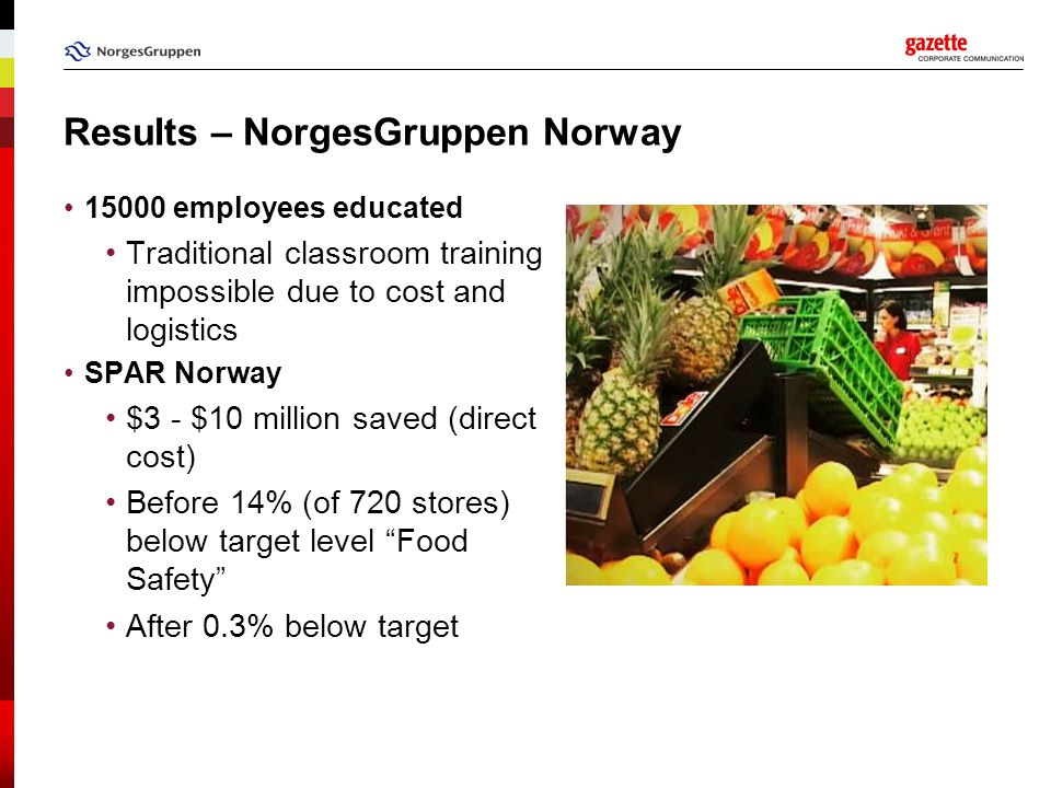 Results – NorgesGruppen Norway 15000 employees educated Traditional classroom training impossible due to cost and logistics SPAR Norway $3 - $10 milli
