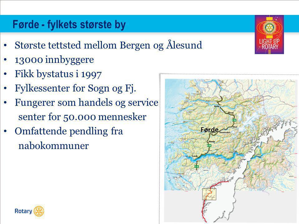 TITLE | 6 Førde - fylkets største by Største tettsted mellom Bergen og Ålesund 13000 innbyggere Fikk bystatus i 1997 Fylkessenter for Sogn og Fj.