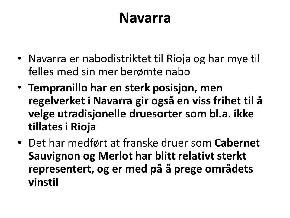 Navarra Navarra er nabodistriktet til Rioja og har mye til felles med sin mer berømte nabo Tempranillo har en sterk posisjon, men regelverket i Navarr