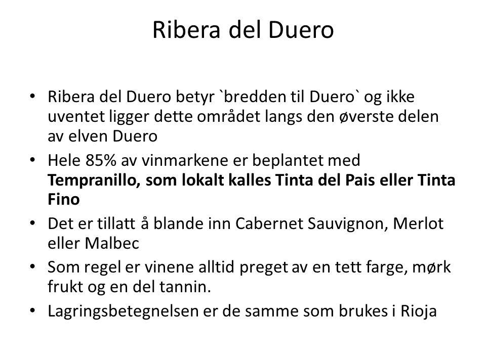 Ribera del Duero Ribera del Duero betyr `bredden til Duero` og ikke uventet ligger dette området langs den øverste delen av elven Duero Hele 85% av vi
