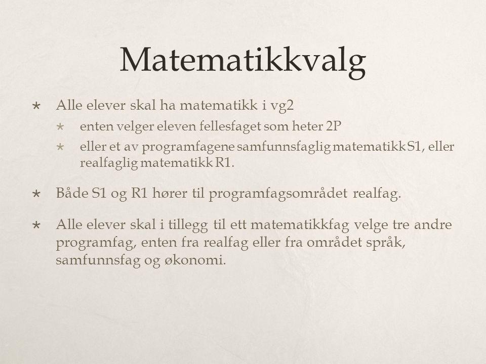 Matematikkvalg  Alle elever skal ha matematikk i vg2  enten velger eleven fellesfaget som heter 2P  eller et av programfagene samfunnsfaglig matematikk S1, eller realfaglig matematikk R1.
