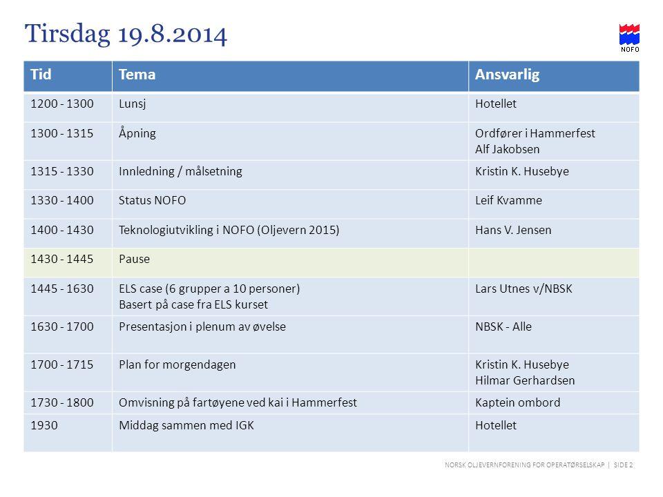 NORSK OLJEVERNFORENING FOR OPERATØRSELSKAP | SIDE 2 Tirsdag 19.8.2014 TidTemaAnsvarlig 1200 - 1300LunsjHotellet 1300 - 1315ÅpningOrdfører i Hammerfest