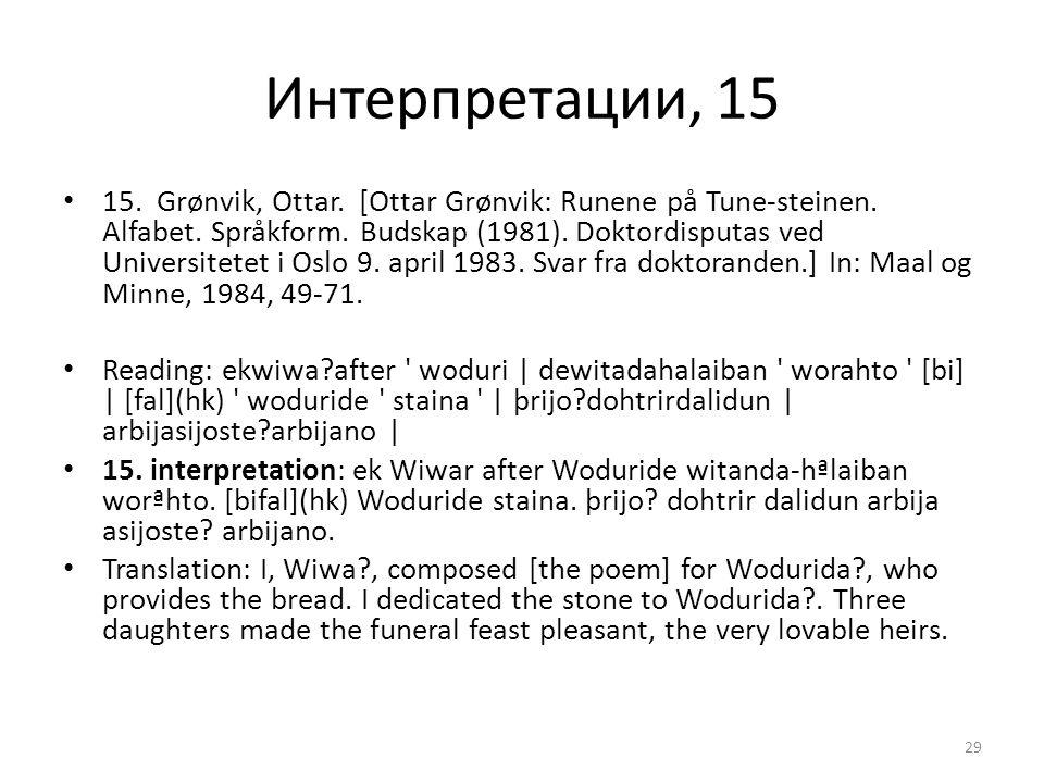 Интерпретации, 15 15. Grønvik, Ottar. [Ottar Grønvik: Runene på Tune-steinen. Alfabet. Språkform. Budskap (1981). Doktordisputas ved Universitetet i O