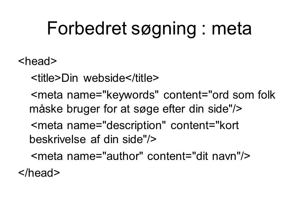 Forbedret søgning : meta Din webside