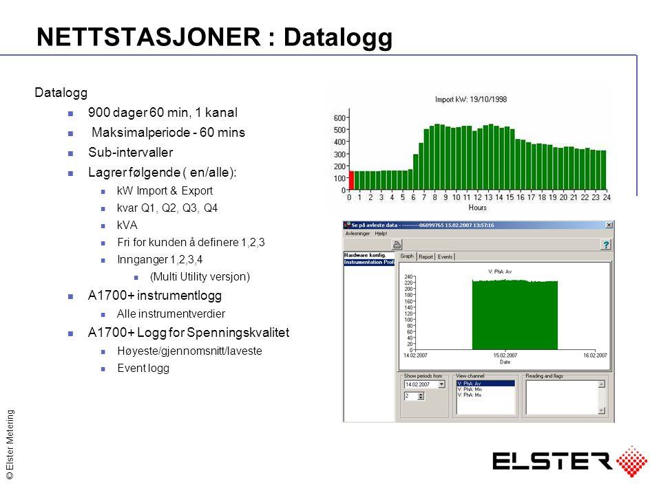 © Elster Metering NETTSTASJONER : Datalogg Datalogg 900 dager 60 min, 1 kanal Maksimalperiode - 60 mins Sub-intervaller Lagrer følgende ( en/alle): kW Import & Export kvar Q1, Q2, Q3, Q4 kVA Fri for kunden å definere 1,2,3 Innganger 1,2,3,4 (Multi Utility versjon) A1700+ instrumentlogg Alle instrumentverdier A1700+ Logg for Spenningskvalitet Høyeste/gjennomsnitt/laveste Event logg