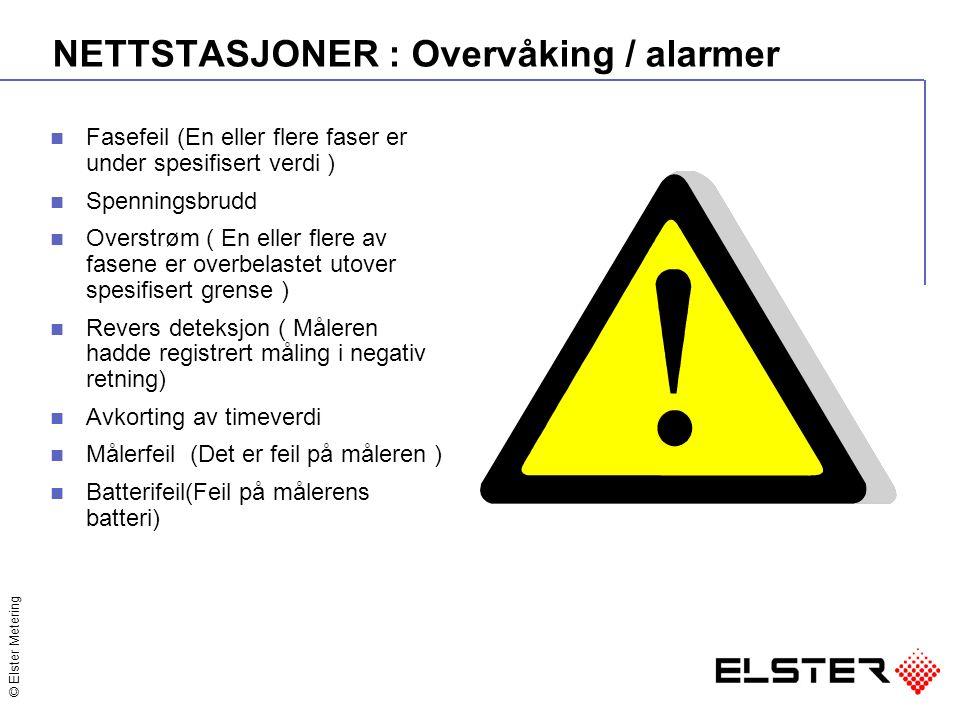 © Elster Metering NETTSTASJONER : Overvåking / alarmer Fasefeil (En eller flere faser er under spesifisert verdi ) Spenningsbrudd Overstrøm ( En eller flere av fasene er overbelastet utover spesifisert grense ) Revers deteksjon ( Måleren hadde registrert måling i negativ retning) Avkorting av timeverdi Målerfeil (Det er feil på måleren ) Batterifeil(Feil på målerens batteri)