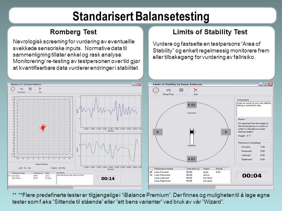 Fallriskovurdering (Romberg Test) I løpet av noen få minutter få en vurdering av om testpersonen befinner seg i risikosonen for fall.