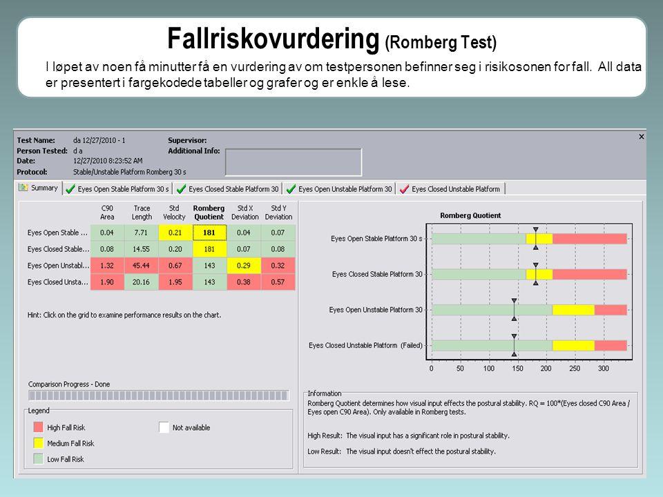 I resultatet av Limits of Stability testen vil programmet indikere hvilken retning testpersonen har mangelfull stabilitet.