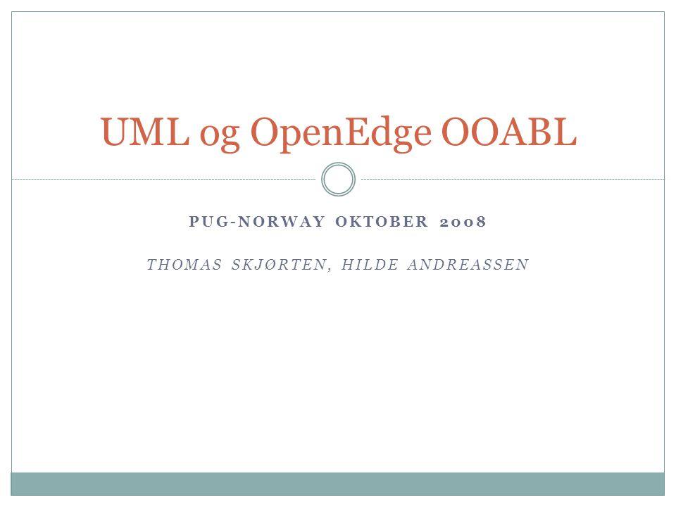 PUG-NORWAY OKTOBER 2008 THOMAS SKJØRTEN, HILDE ANDREASSEN UML og OpenEdge OOABL