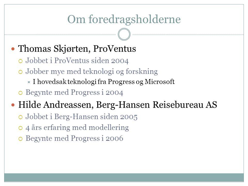 Om foredragsholderne Thomas Skjørten, ProVentus  Jobbet i ProVentus siden 2004  Jobber mye med teknologi og forskning  I hovedsak teknologi fra Pro