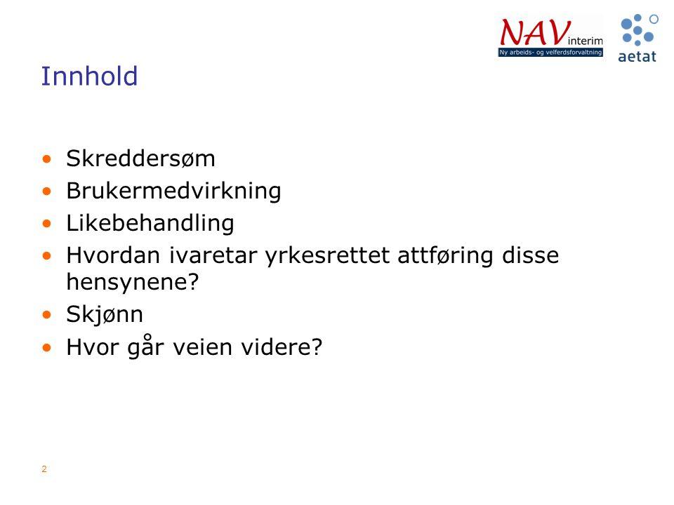 2 Innhold Skreddersøm Brukermedvirkning Likebehandling Hvordan ivaretar yrkesrettet attføring disse hensynene? Skjønn Hvor går veien videre?
