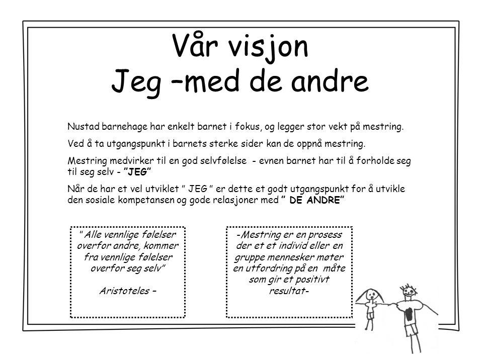 Vår visjon Jeg –med de andre Nustad barnehage har enkelt barnet i fokus, og legger stor vekt på mestring.