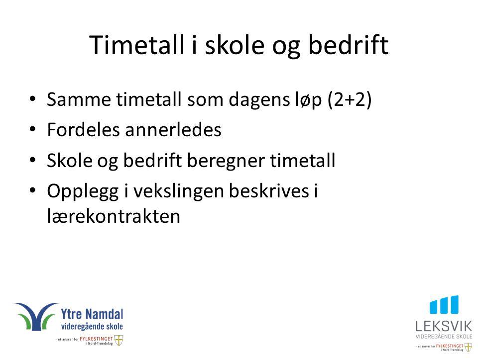Timetall i skole og bedrift Samme timetall som dagens løp (2+2) Fordeles annerledes Skole og bedrift beregner timetall Opplegg i vekslingen beskrives