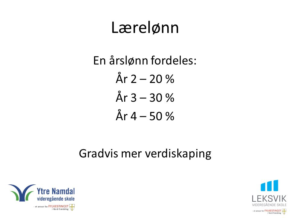 Lærelønn En årslønn fordeles: År 2 – 20 % År 3 – 30 % År 4 – 50 % Gradvis mer verdiskaping