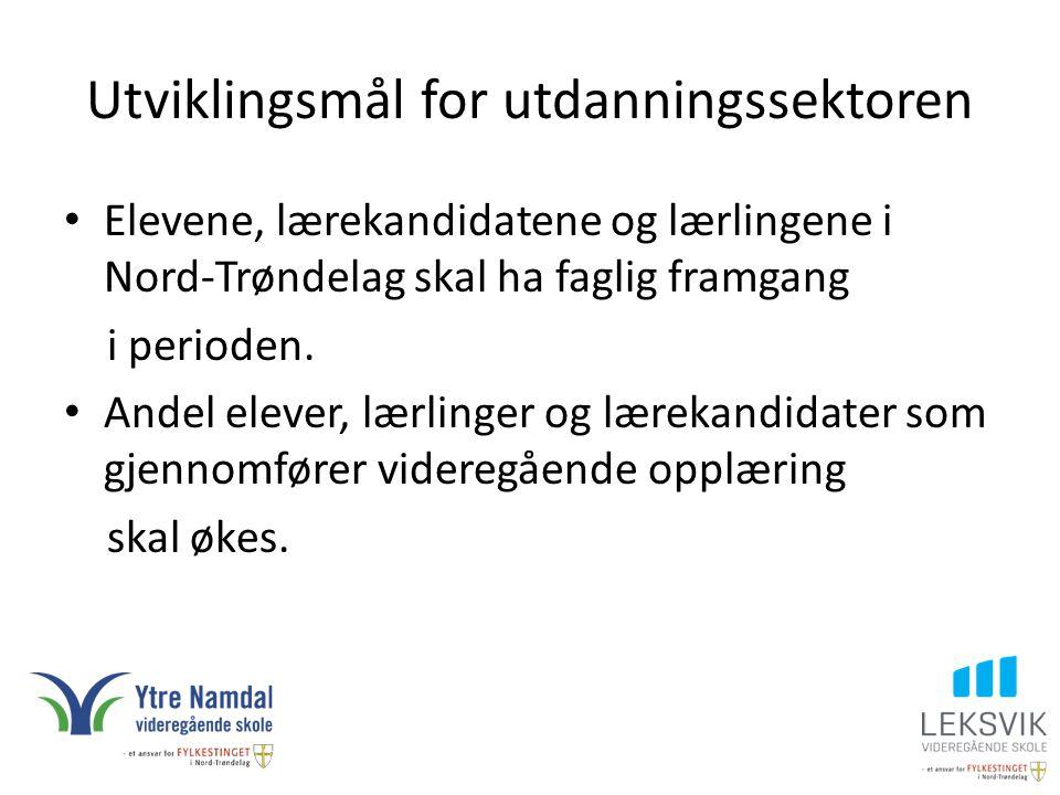 Utviklingsmål for utdanningssektoren Elevene, lærekandidatene og lærlingene i Nord-Trøndelag skal ha faglig framgang i perioden. Andel elever, lærling