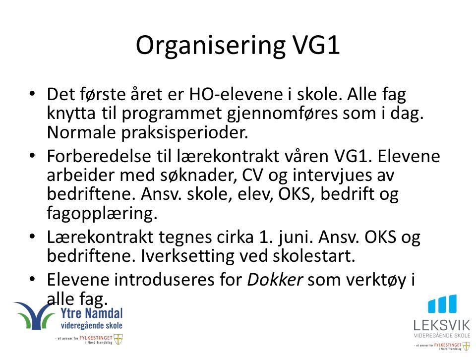 Organisering VG1 Det første året er HO-elevene i skole. Alle fag knytta til programmet gjennomføres som i dag. Normale praksisperioder. Forberedelse t