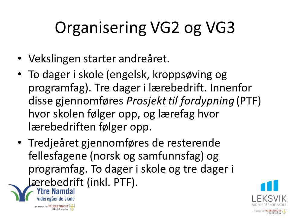 Organisering VG2 og VG3 Vekslingen starter andreåret. To dager i skole (engelsk, kroppsøving og programfag). Tre dager i lærebedrift. Innenfor disse g