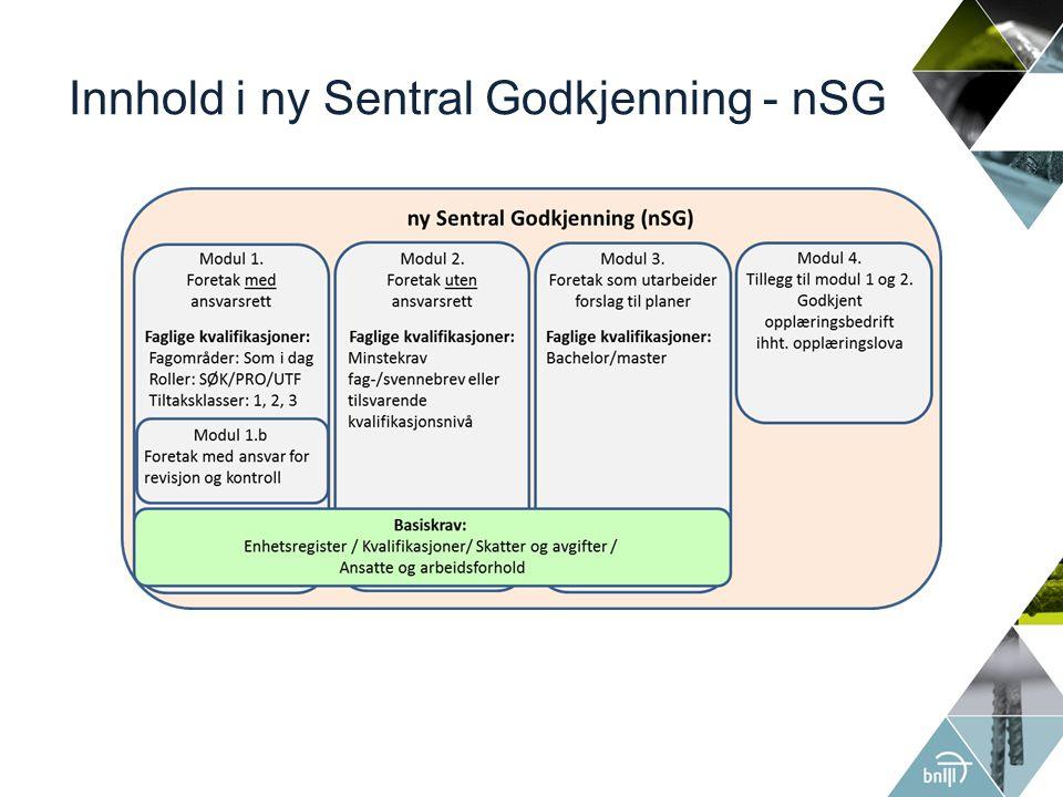 Innhold i ny Sentral Godkjenning - nSG
