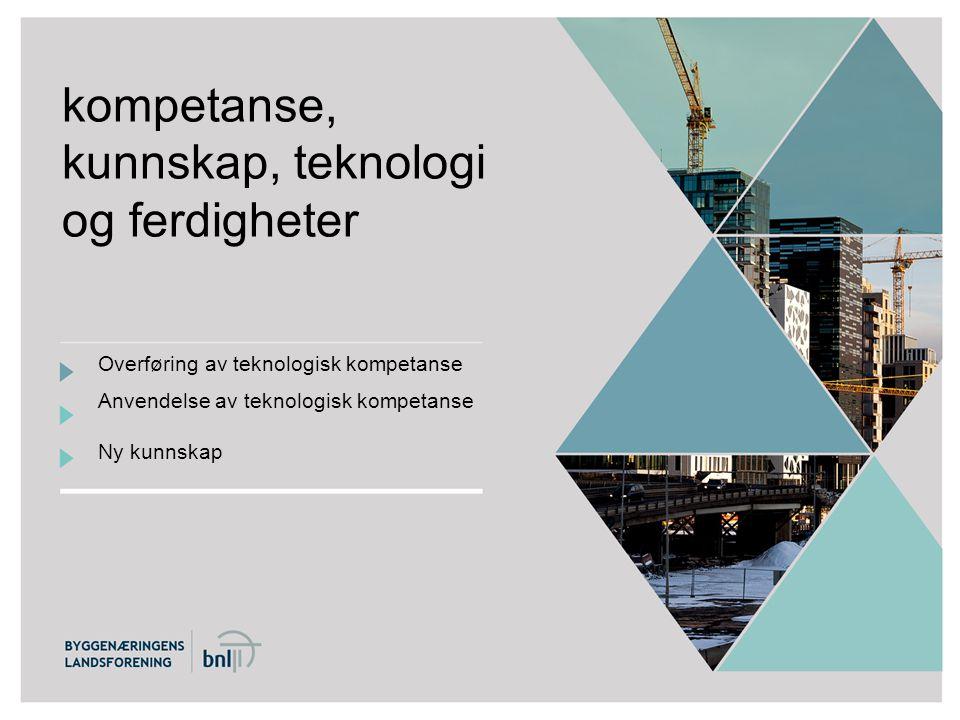 kompetanse, kunnskap, teknologi og ferdigheter Overføring av teknologisk kompetanse Anvendelse av teknologisk kompetanse Ny kunnskap