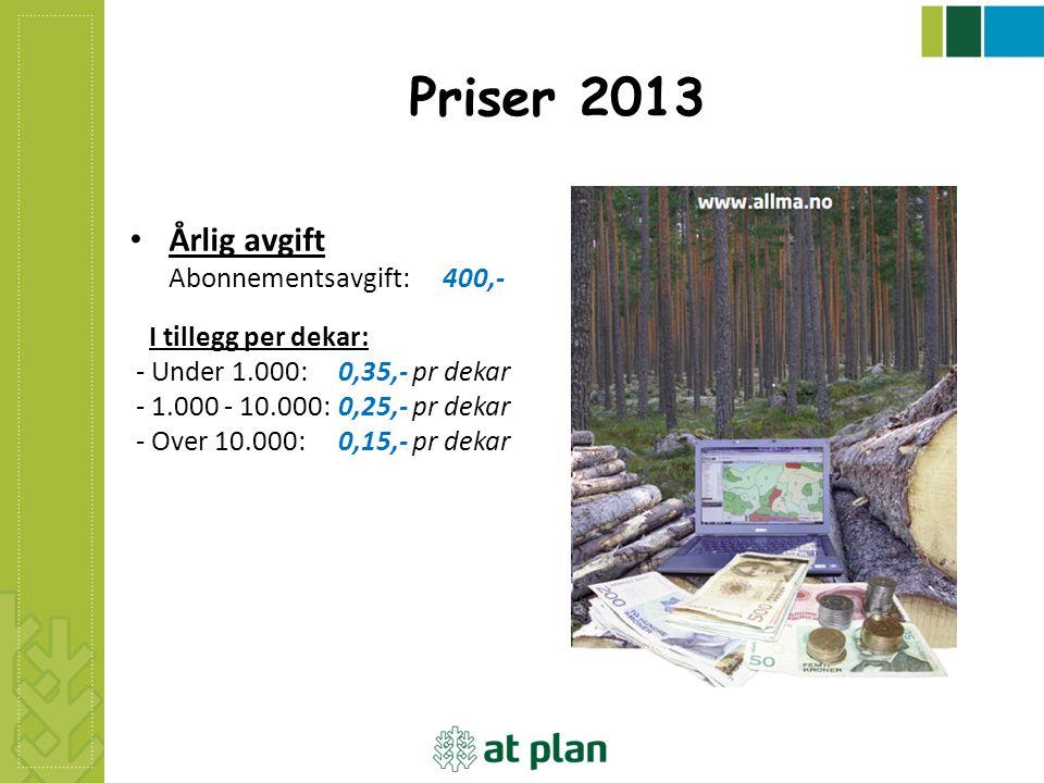 Priser 2013 Årlig avgift Abonnementsavgift: 400,- I tillegg per dekar: - Under 1.000: 0,35,- pr dekar - 1.000 - 10.000: 0,25,- pr dekar - Over 10.000: