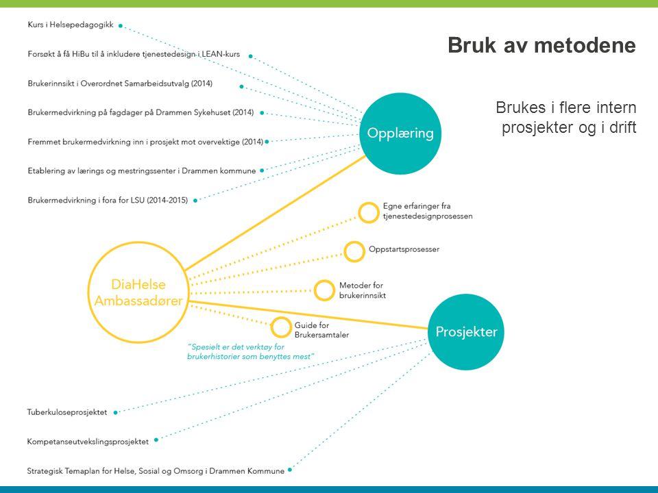 Bruk av metodene Brukes i flere intern prosjekter og i drift