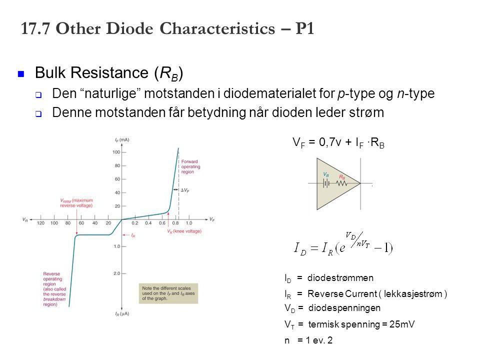 17.7 Other Diode Characteristics – P1 Bulk Resistance (R B )  Den naturlige motstanden i diodematerialet for p-type og n-type  Denne motstanden får betydning når dioden leder strøm V F = 0,7v + I F ·R B I D = diodestrømmen I R = Reverse Current ( lekkasjestrøm ) V D = diodespenningen V T = termisk spenning = 25mV n = 1 ev.