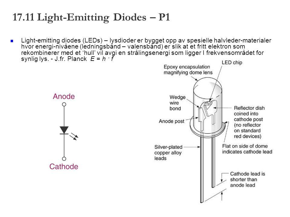 17.11 Light-Emitting Diodes – P1 Light-emitting diodes (LEDs) – lysdioder er bygget opp av spesielle halvleder-materialer hvor energi-nivåene (ledningsbånd – valensbånd) er slik at et fritt elektron som rekombinerer med et 'hull' vil avgi en strålingsenergi som ligger I frekvensområdet for synlig lys.