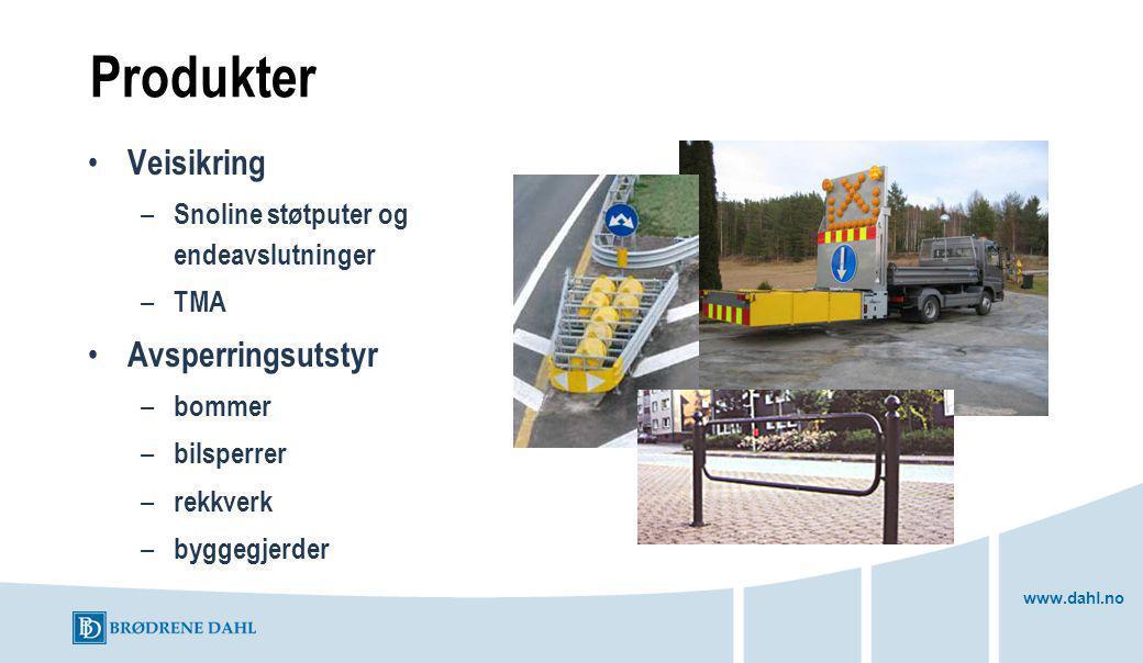 www.dahl.no Produkter Veisikring – Snoline støtputer og endeavslutninger – TMA Avsperringsutstyr – bommer – bilsperrer – rekkverk – byggegjerder