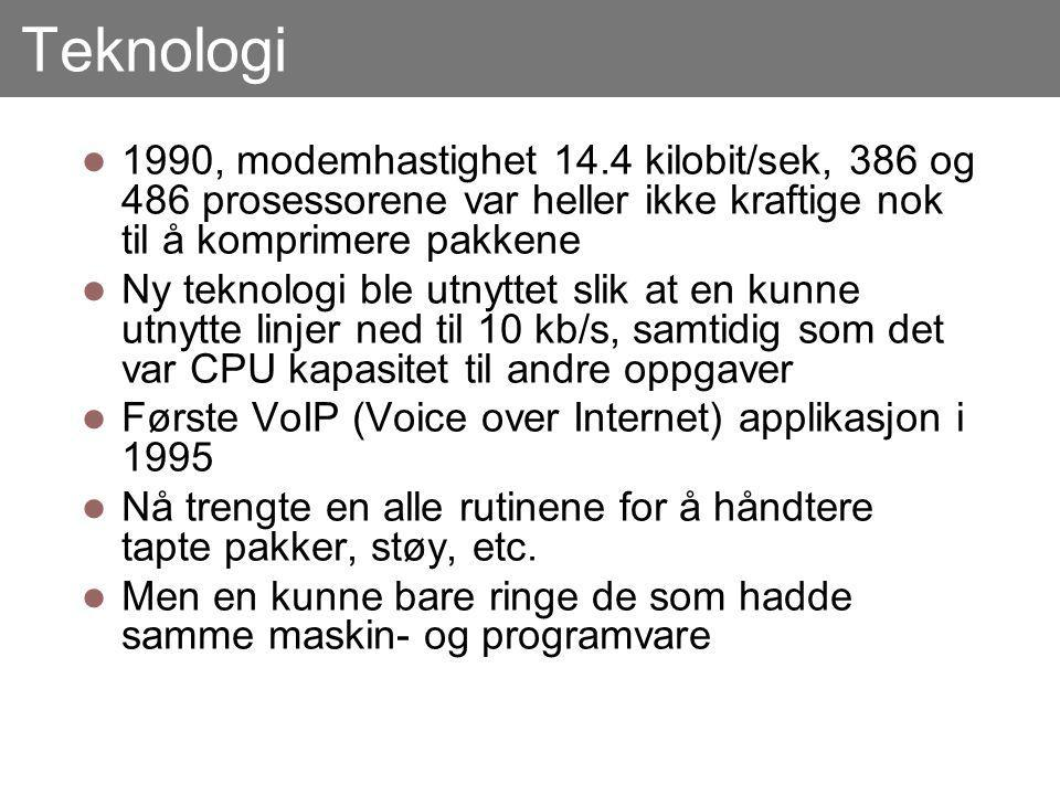 Teknologi 1990, modemhastighet 14.4 kilobit/sek, 386 og 486 prosessorene var heller ikke kraftige nok til å komprimere pakkene Ny teknologi ble utnyttet slik at en kunne utnytte linjer ned til 10 kb/s, samtidig som det var CPU kapasitet til andre oppgaver Første VoIP (Voice over Internet) applikasjon i 1995 Nå trengte en alle rutinene for å håndtere tapte pakker, støy, etc.