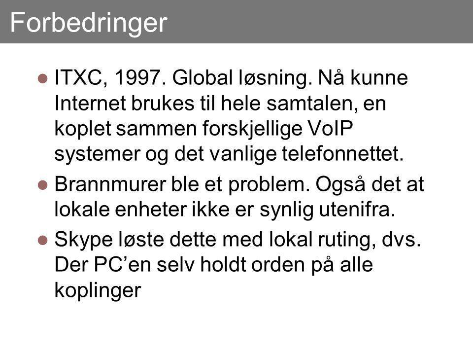 Forbedringer ITXC, 1997. Global løsning.