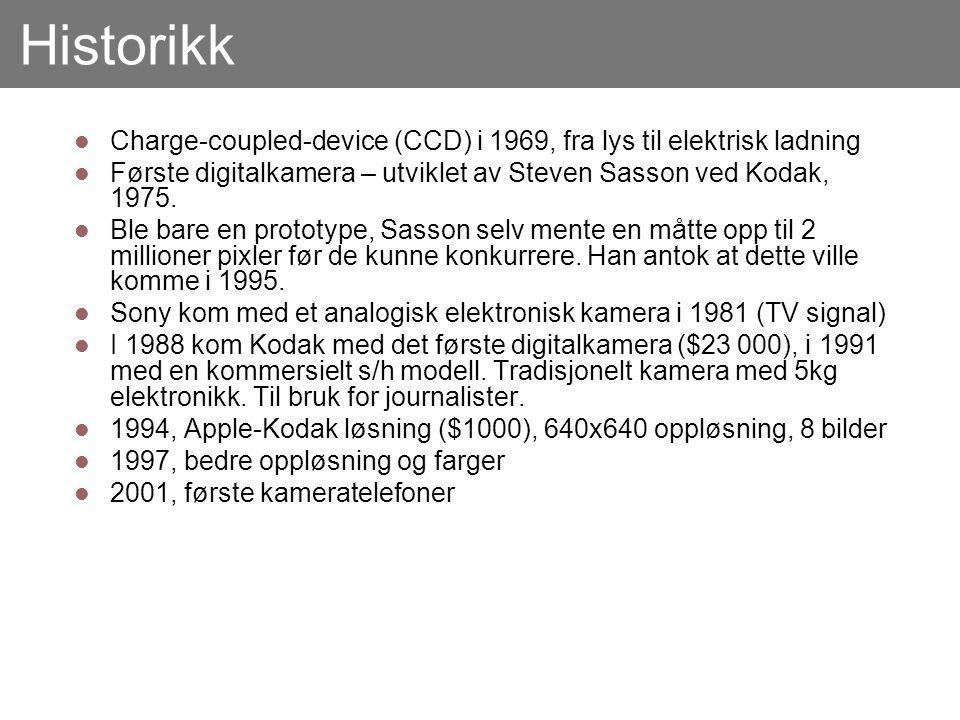 Historikk Charge-coupled-device (CCD) i 1969, fra lys til elektrisk ladning Første digitalkamera – utviklet av Steven Sasson ved Kodak, 1975.