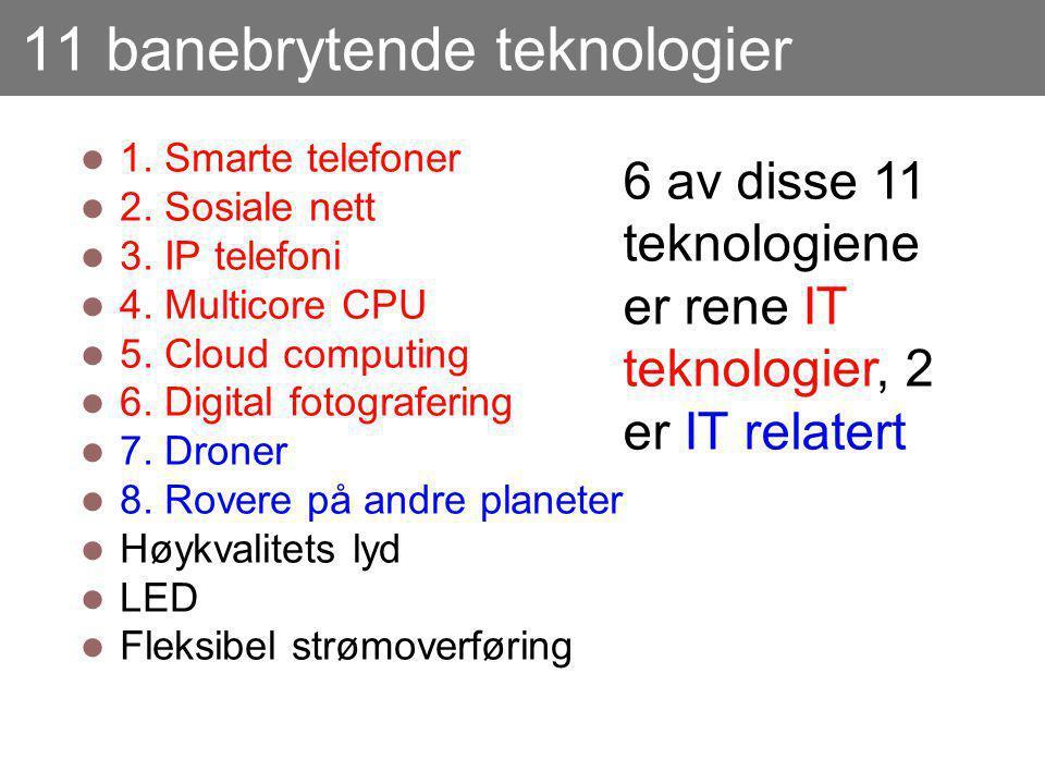 11 banebrytende teknologier 1. Smarte telefoner 2. Sosiale nett 3. IP telefoni 4. Multicore CPU 5. Cloud computing 6. Digital fotografering 7. Droner