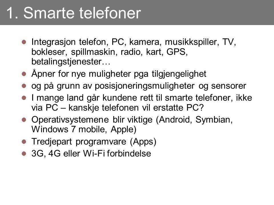 1. Smarte telefoner Integrasjon telefon, PC, kamera, musikkspiller, TV, bokleser, spillmaskin, radio, kart, GPS, betalingstjenester… Åpner for nye mul