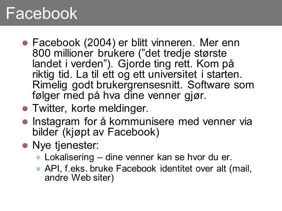 """Facebook Facebook (2004) er blitt vinneren. Mer enn 800 millioner brukere (""""det tredje største landet i verden""""). Gjorde ting rett. Kom på riktig tid."""