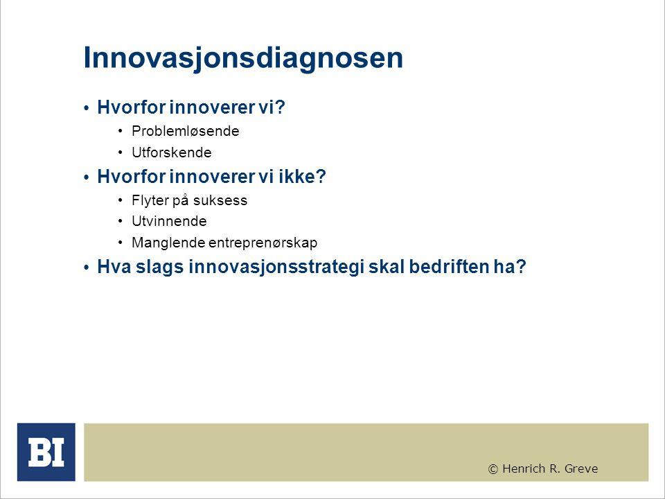 © Henrich R. Greve Innovasjonsdiagnosen Hvorfor innoverer vi? Problemløsende Utforskende Hvorfor innoverer vi ikke? Flyter på suksess Utvinnende Mangl