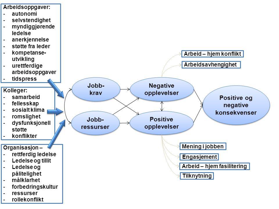 Jobb- krav Jobb- krav Jobb- ressurser Positive opplevelser Negative opplevelser Positive og negative konsekvenser Arbeidsoppgaver: autonomi selvsten
