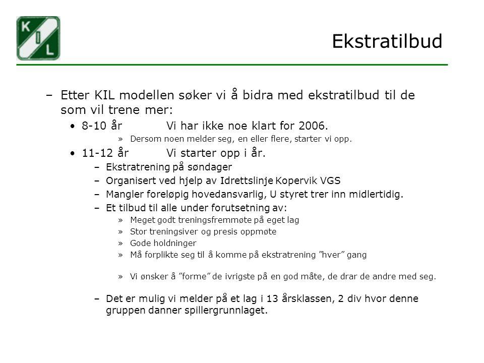 Ekstratilbud –Etter KIL modellen søker vi å bidra med ekstratilbud til de som vil trene mer: 8-10 årVi har ikke noe klart for 2006. »Dersom noen melde