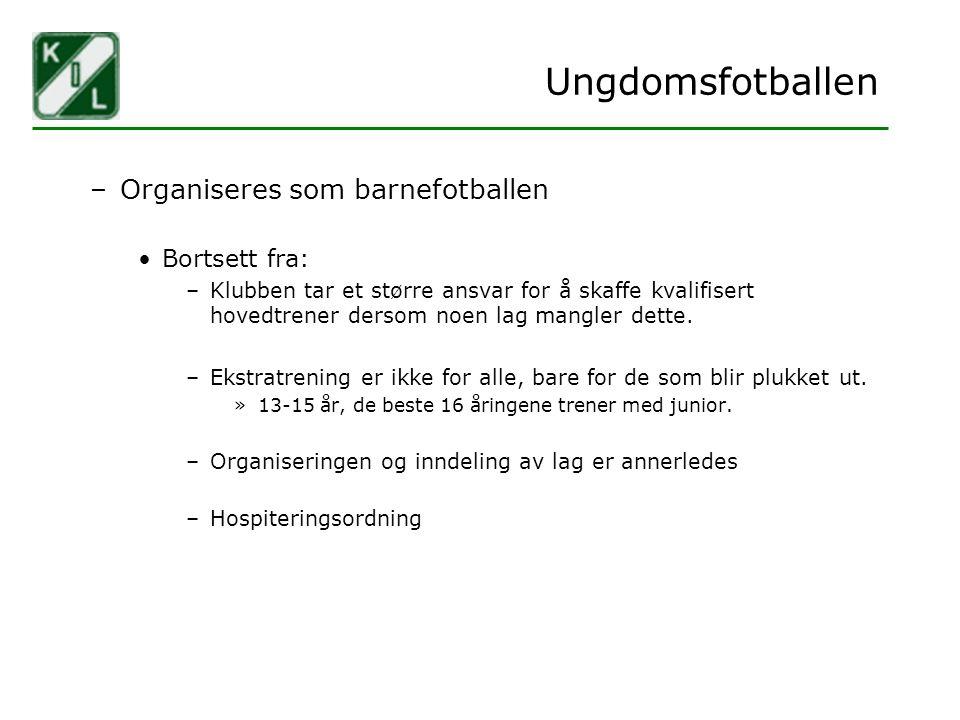Ungdomsfotballen –Organiseres som barnefotballen Bortsett fra: –Klubben tar et større ansvar for å skaffe kvalifisert hovedtrener dersom noen lag mang