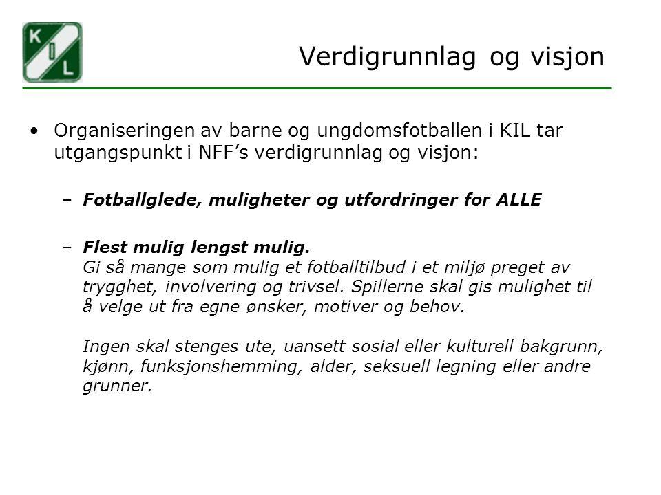 Verdigrunnlag og visjon Organiseringen av barne og ungdomsfotballen i KIL tar utgangspunkt i NFF's verdigrunnlag og visjon: –Fotballglede, muligheter