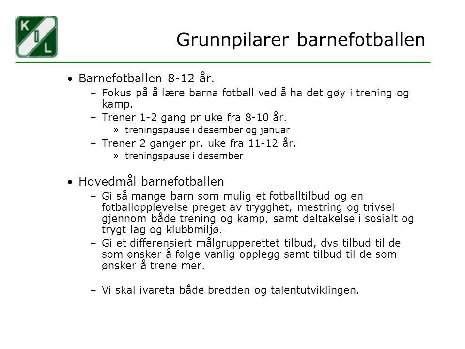 Grunnpilarer barnefotballen Barnefotballen 8-12 år. –Fokus på å lære barna fotball ved å ha det gøy i trening og kamp. –Trener 1-2 gang pr uke fra 8-1