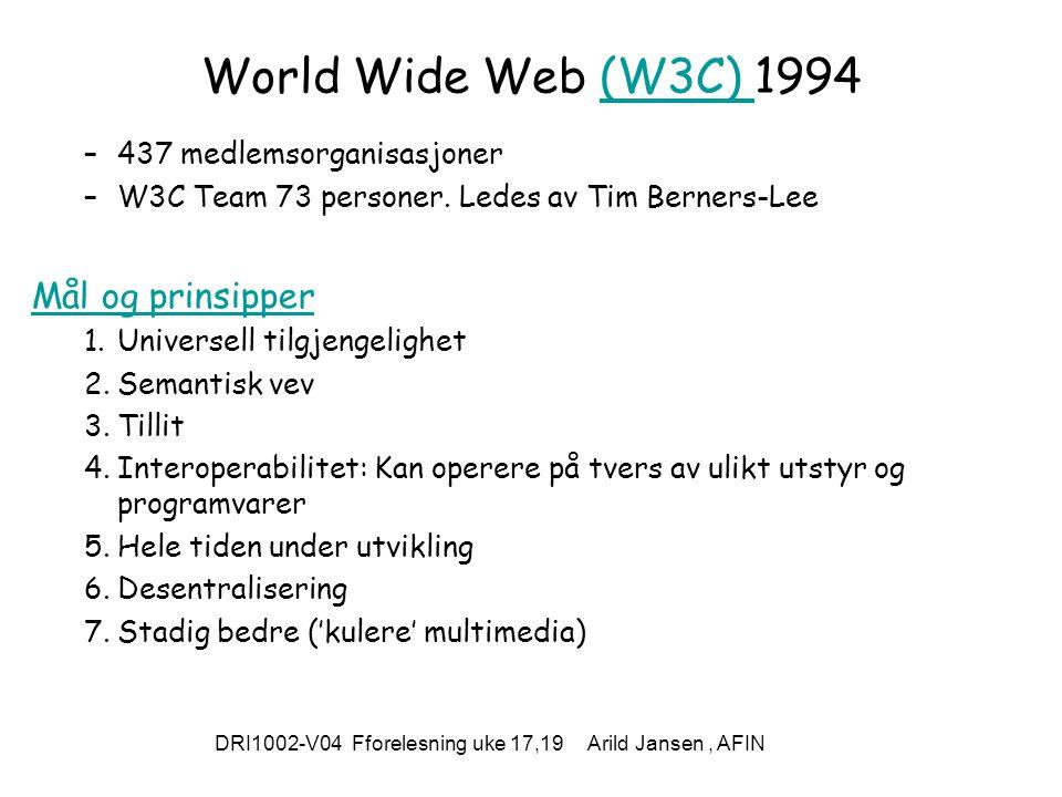 DRI1002-V04 Fforelesning uke 17,19 Arild Jansen, AFIN World Wide Web (W3C) 1994(W3C) –437 medlemsorganisasjoner –W3C Team 73 personer.