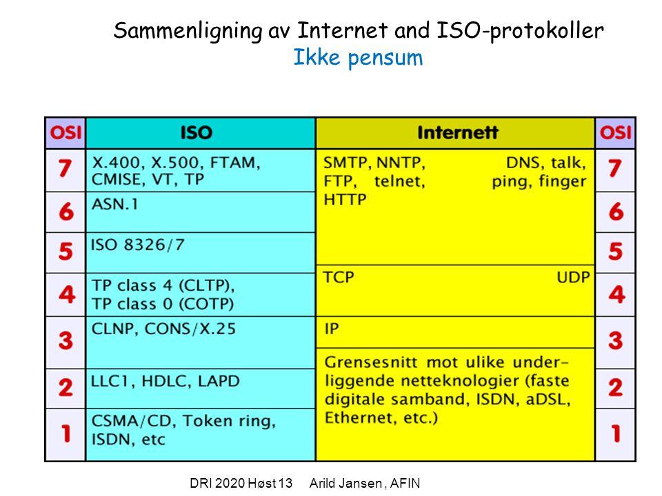 DRI 2020 Høst 13 Arild Jansen, AFIN Sammenligning av Internet and ISO-protokoller Ikke pensum