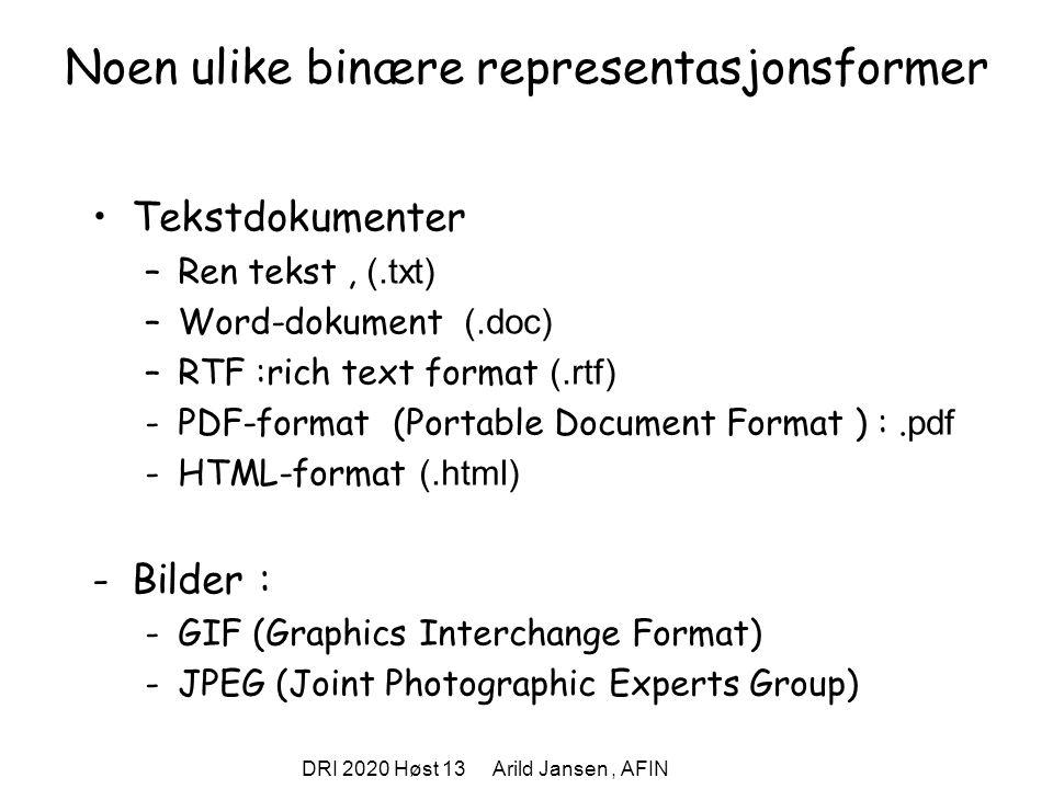 DRI 2020 Høst 13 Arild Jansen, AFIN Noen ulike binære representasjonsformer Tekstdokumenter –Ren tekst, (.txt) –Word-dokument (.doc) –RTF :rich text format (.rtf) -PDF-format (Portable Document Format ) :.
