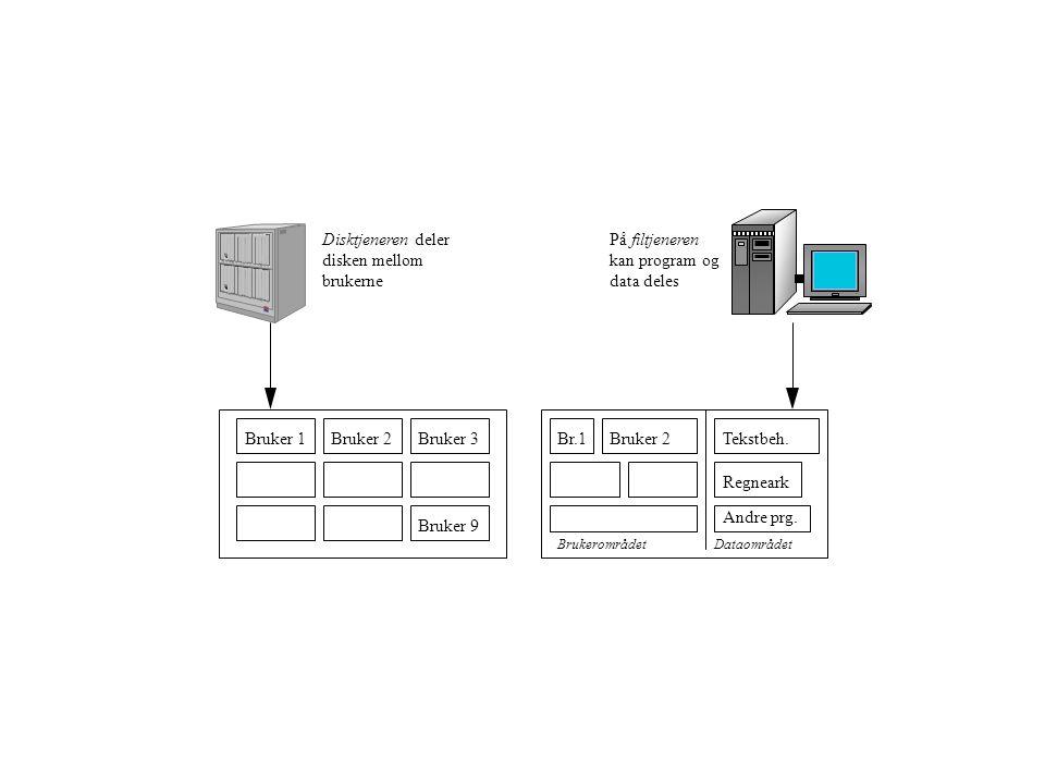 Disktjeneren deler disken mellom brukerne Påfiltjeneren kan program og data deles Bruker 1Bruker 2Bruker 3 Bruker 9 Br.1Bruker 2Tekstbeh.